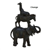 "Polystone Stacked Animals 12""W, 18""H, Black"