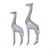 "Polystone Giraffe S/2 12"", 15""H, Silver"