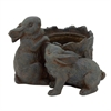 "Resin Rabbit Pot 13""W, 10""H, Dark Brown"