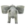 """Polystone Pig Basket Vase 18""""W, 10""""H, Gray"""