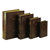 Wood Leather Book Box S4 Stylish Book Storage
