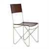 """Metal Leather Brown Chair 18""""W, 34""""H, Brown"""