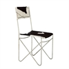 "Metal Leather Black Hide Chair 18""W, 34""H, Black, White"