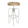 "Wood Metal Bar Stool 16""W, 30""H, Brown, Silver"