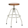 "Wood Metal Bar Stool 17""W, 28""H, Brown, Silver"