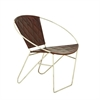 """Metal Brown Leather Chair 30""""W, 29""""H, Brown, Silver"""