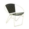 "Metal Black Leather Chair 30""W, 29""H, Black, Silver"