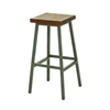 "Wood Iron Stool 16""W, 30""H, Brown, Silver"