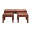 Benzara The Heartthrob Set Of 3 Wood Leather Bench