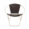 Benzara Fascinating Styled Metal Real Leather Chair