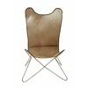 Benzara Comfortable Metal Hide Leather Chair