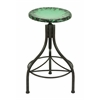 Metal Bar Stool In Brown Shade With Splash Of Green Over The Seat