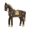 Benzara The Studded Wood Brass Horse