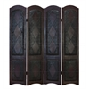 Benzara Wood Leather 4 Panel Screen Brings Completeness To Decor