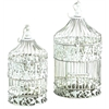 Metal Bird Cage S/2 Shabby Chic White