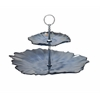"Benzara Chic Glass Metal 2 Tier Tray 14""W, 10""H"