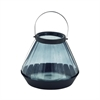 "Glass Metal Lantern 11""W, 13""H, Gray, Black"