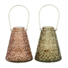 "Metal Glass Lantern 2 Assorted 7""W, 16""H, Copper, Gray, Gold"