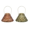 "Glass Metal Lantern 2 Assorted 9""W, 11""H, Copper, Green"
