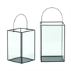 "Metal Glass Lantern S/2 14"", 16""H, Black, Clear"