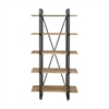 "Metal Wood Shelf 34""W, 71""H, Black, Light Brown"