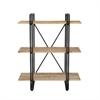 "Metal Wood Shelf 37""W, 48""H, Light Brown, Black"