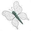 "Metal Wood Butterfly Decor 19""W, 24""H, Cyan, Black"
