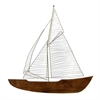 "Metal Wood Boat Wall Decor 30""W, 31""H, Brown, Gold"