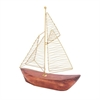 "Metal Wood Boat 10""W, 13""H, Brown, Gold"