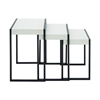 "Metal Wood Nestng Table S/3 18"", 21"",23""H, White, Black"