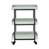 """Metal Wood Tray Cart 22""""W, 34""""H, White, Black"""
