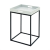 "Metal Wood Tray Table 16""W, 25""H, White, Black"