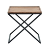 "Metal Wood Side Table 22""W, 22""H, Light Brown, Black"