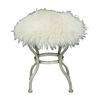 "Metal White Fur Stool 20""W, 21""H, White, Silver"