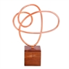 "Metal Wood Copper Sculpture 11""W, 15""H, Brown, Copper"