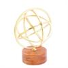 "Metal Wood Gold Sculpture 7""W, 9""H, Brown, Gold"