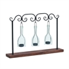 "Metal Wood Glass Votive Holder 22""W, 15""H, Black, Brown"
