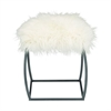 "Metal White Fur Stool 17""W, 20""H, Black, White"