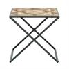 "Metal Wood Side Table 22""W, 22""H, Light Brown"