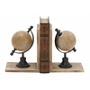 "Alluring Wood Metal Globe Bookend Pair 7""W, 9""H"