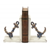 "Remarkable Wood Metal Anchor Bookend Pair 6""W, 8""H"