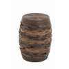 "Benzara Well-Built Wood Pe Rattan Foot Stool 14""W, 19""H"