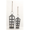 "Beautiful Metal Glass Candle Lantern Set Of 2 18"", 22""H"