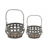 "Benzara Quality Metal Wood Basket Set Of 2 15"", 12""W"