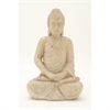Ravishing Ceramic White/Gold Setting Buddha, White & Gold