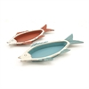 Striking, Orange & Blue, Set Of Two Wood Metal Fish Tray