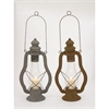 Captivating Metal Glass Lantern 2 Assorted, Rustic Green Brown