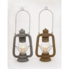 Amazing Metal Glass Lantern 2 Assorted, Rustic Green Brown