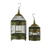 Benzara Metal Bird Cage S/2 Garden Decorative Item