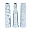 Benzara Contemporary Ceramic Vase 3 Assorted In Silver Finish